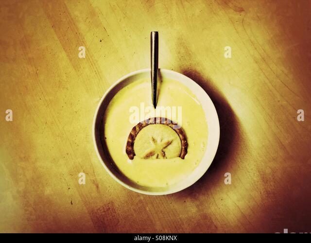 Mince pie and custard - Stock Image