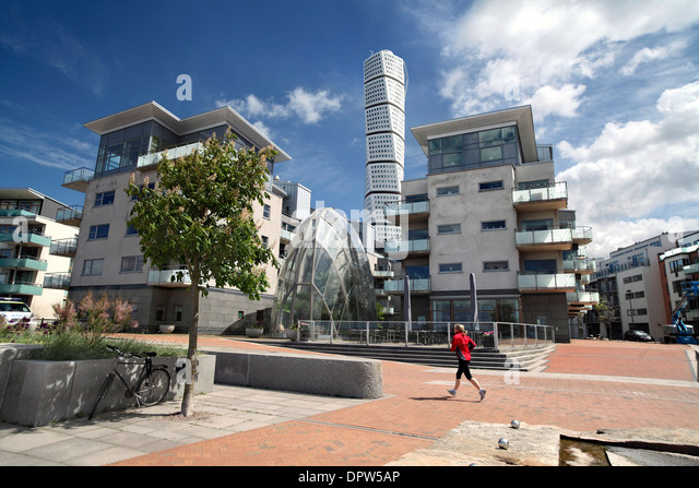 Part of the mostly traffic free centre of Vastra Hamnen, a new sustainable suburb of Malmo, Sweden. - Stock Image