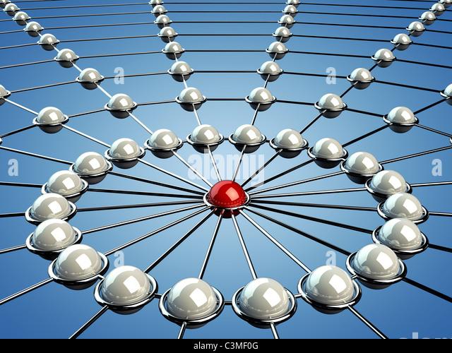 Model of a network , 3d illustration - Stock Image