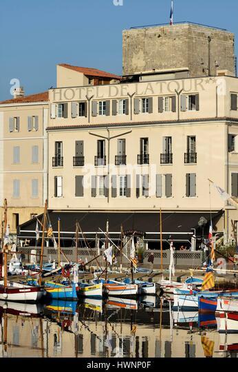 France, Var, Sanary sur Mer, the port, traditional fishing boats, the Pointus, Hotel de la Tour - Stock-Bilder