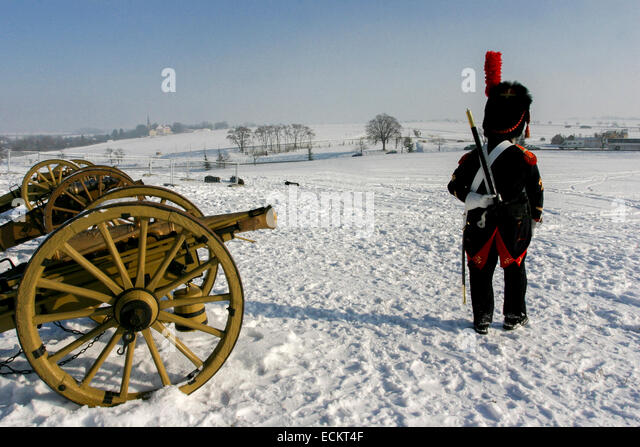 French soldier Tvarozna village in the background Reenactment of the Battle of Austerlitz (1805) Images taken during - Stock Image