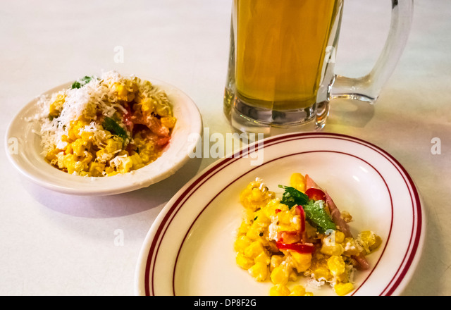 Zesty corn, a side dish at Parm in Nolita in New York City BHZ Stock Photo