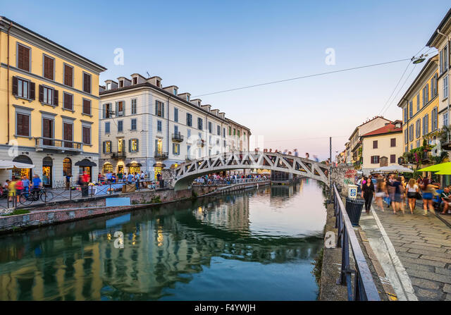 Naviglio Grande canal in the evening, Milan, Italy - Stock Image