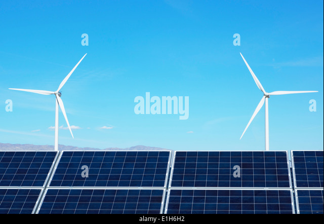 Photovoltaic solar panels and wind turbines, San Gorgonio Pass Wind Farm, Palm Springs, California, USA - Stock Image
