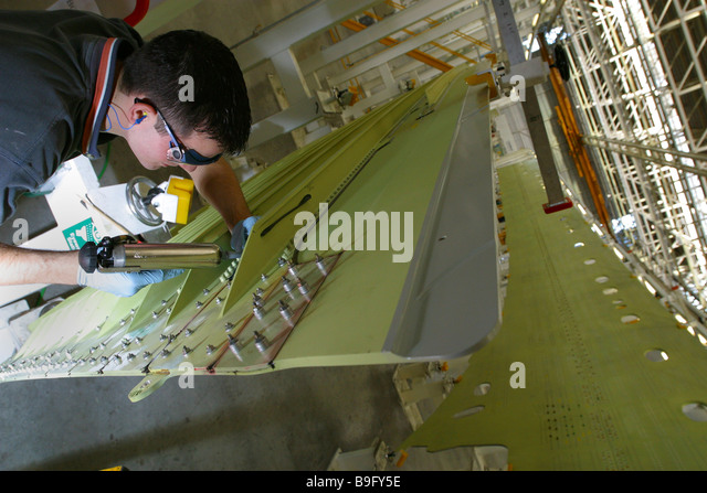 Airbus 380 wing production at Broughton Near Chester - Stock-Bilder