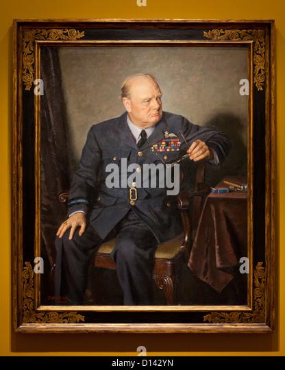 Winston Churchill portrait by Douglas Chandor, 1946 - Stock Image