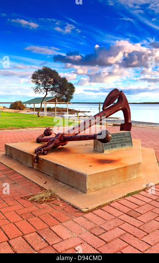 Old rusty anchor on display on the foreshore at Port Broughton York Peninsula South Australia - Stock Image