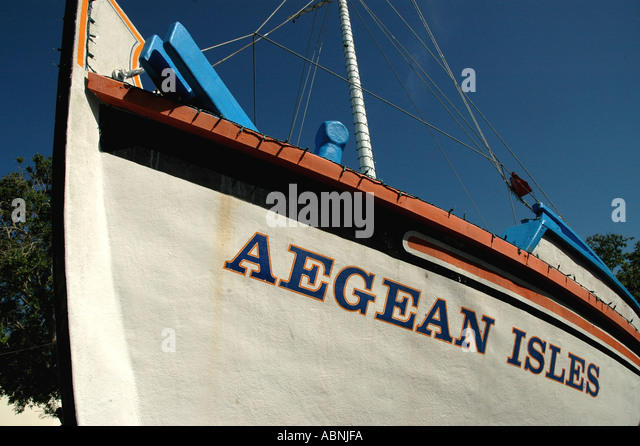 Tarpon Springs Florida Sponge Exchange Traditional Greek Sponge Fishing Boat Aegean Isles - Stock Image