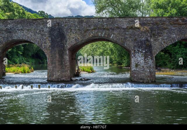 A stone bridge over the River Wye in England, UK - Stock Image