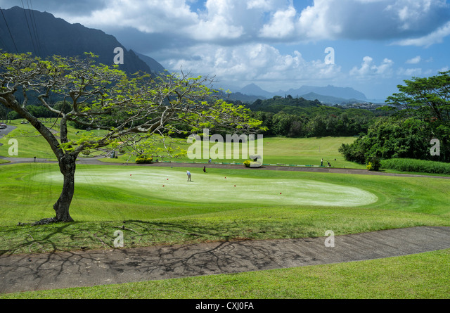 Practice putting green and driving range at Ko'olau Golf Club near Ko'olau Range in Kaneohe, Hawaii. - Stock Image