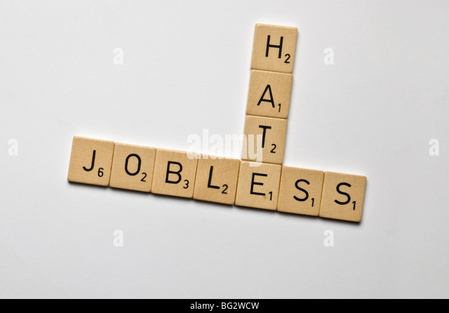 scrabble stones spelled jobless and hate - Stock Image