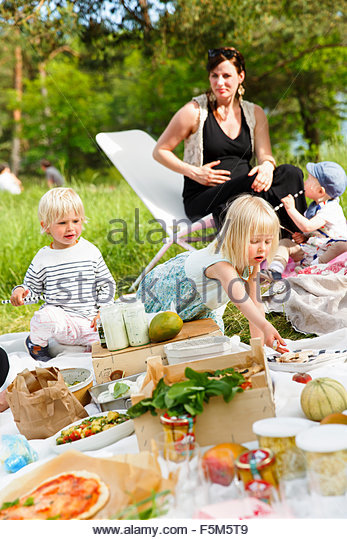 Sweden, Sodermanland, Nacka, Family picnic - Stock Image