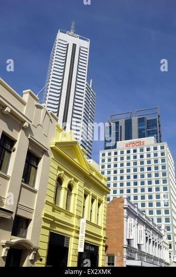 Perth Contrasting Skyline Western Australia - Stock Image
