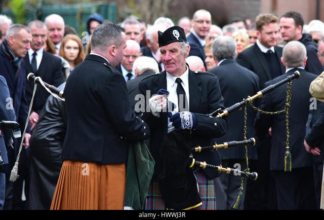 Derry, Northern Ireland. 23rd March, 2017. Pipers at the Funeral of Sinn Féins Martin McGuinness in Derry: - Stock Image