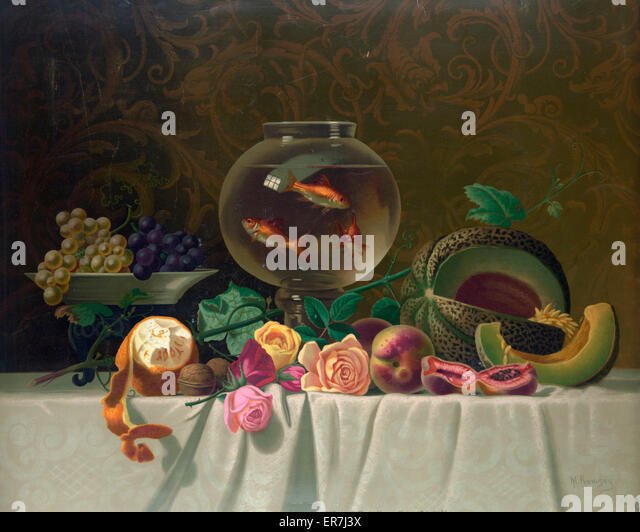 Still life with fish. Date c1874. - Stock Image