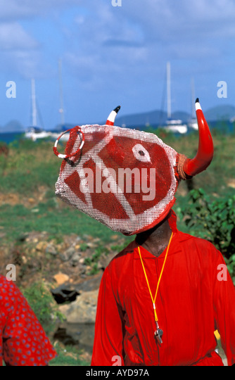 British Virgin Islands Emancipation Festival Man Wearing Bull s Head - Stock Image