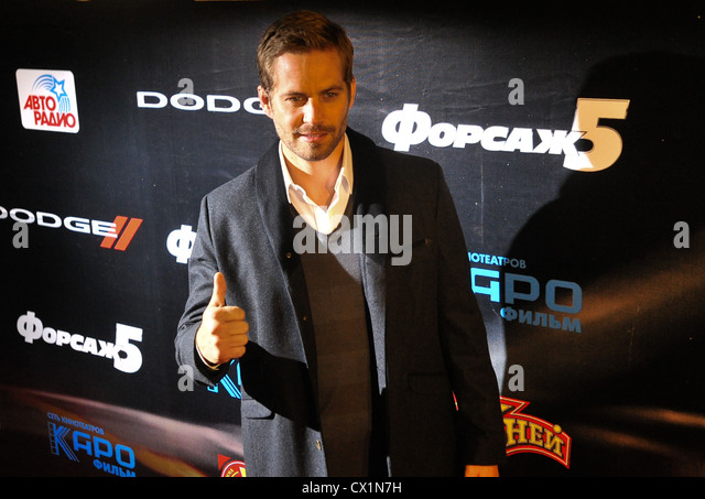 MOSCOW, RUSSIA. APRIL 24. 2011. Actor Paul Walker giving thumbs up before the Russian premiere of Justin Lin's film - Stock Image