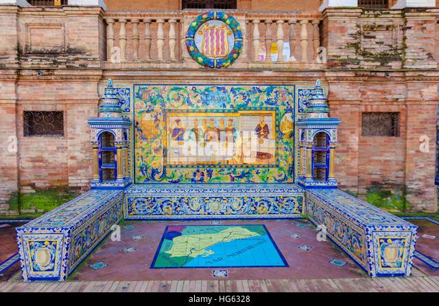 Glazed tiles bench of spanish province of Tarragona at Plaza de Espana, Seville, Spain - Stock Image