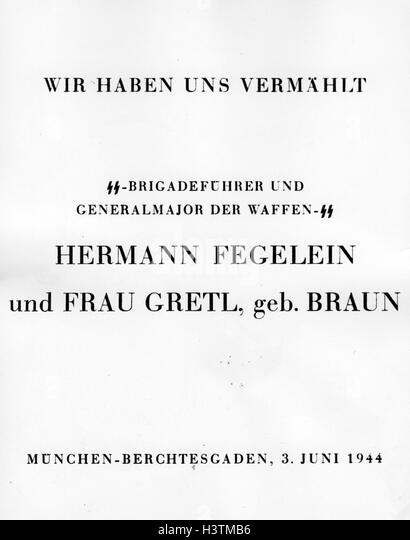 HERMANN FEGELEIN (1906-1945)  Order of reception after his wedding to Gretl Braun, sister of Eva, 3 June 1944 - Stock Image