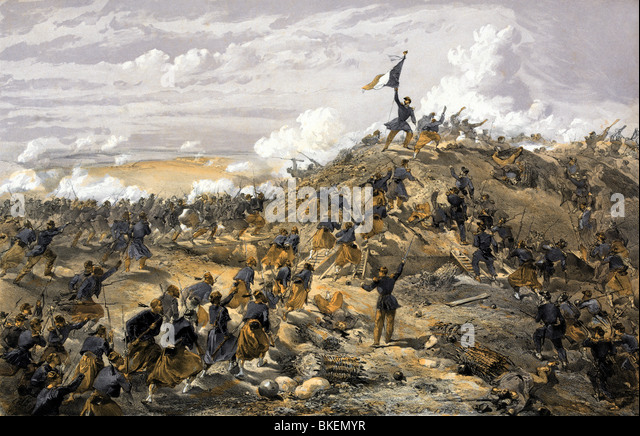 Vintage print entitled 'The Attack on the Malakoff' and depicting the Battle of Malakoff (September 7 1855) - Stock Image