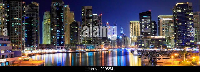 Dubai Marina at night - panoramic - Stock Image