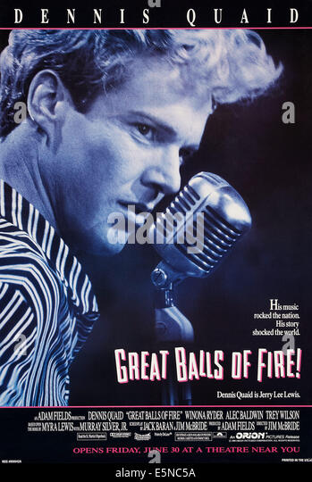 GREAT BALLS OF FIRE!, US advance poster art, Dennis Quaid as Jerry Lee Lewis, 1989, © Orion/courtesy Everett - Stock Image