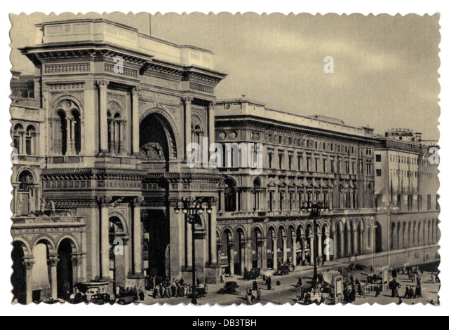 Italy Milan building Galeria Vittorio Emanuele II exterior view picture postcard 1950s deckle edge shopping mall - Stock Image