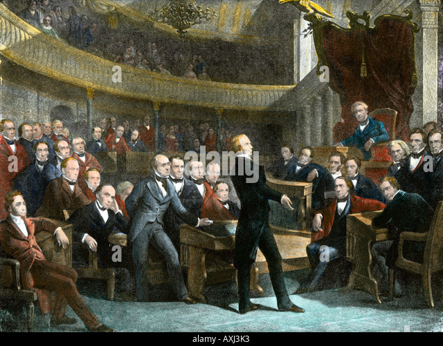 Henry Clay urging the US Senate to adopt the Compromise of 1850 to avert civil war - Stock-Bilder