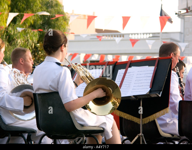 Royal Marines Band play in Gibraltar, to celebrate 300 years of British Rule, trumpet trumpets drum drummer military - Stock Image