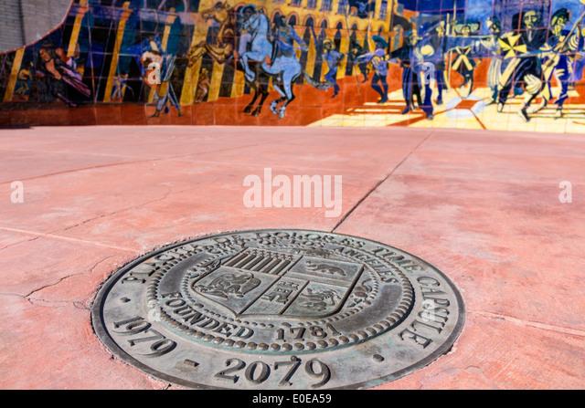 Los Angeles California CA L.A. Olvera Street Los Angeles Plaza Historic District El Pueblo de Los Angeles Placita - Stock Image