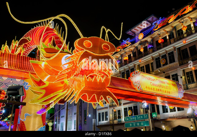 Chinese New Year Celebrations, New Bridge Road, Chinatown, Singapore, Southeast Asia, Asia - Stock Image
