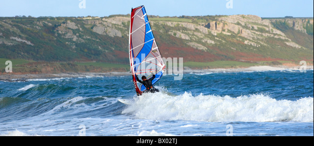 Wind surfing at Gower Peninsula Wales - Stock Image