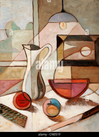 Abstract oil painting of still life with pitcher and fruits - Stock Image