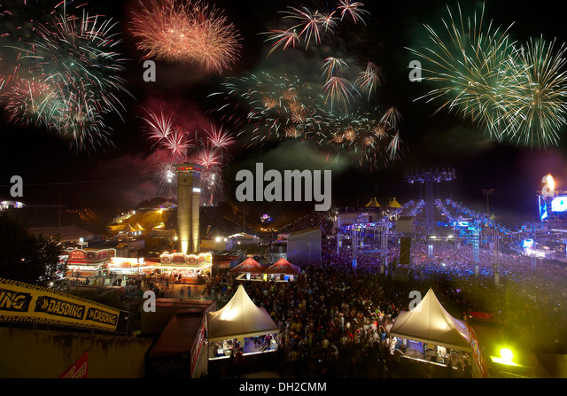 Fireworks, techno rave Nature One 2012 on the former U.S. rocket base in Pydna in the Hunsrueck, Kastellaun - Stock Image