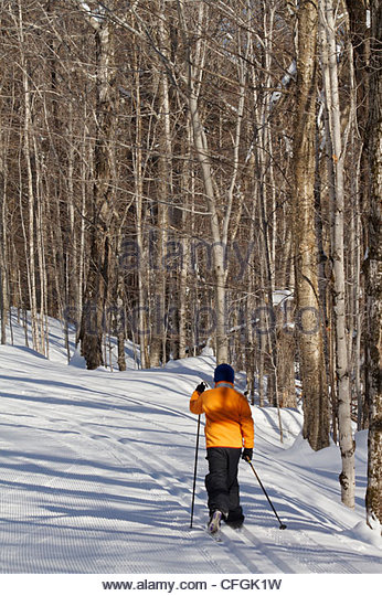 A ten-year-old boy cross country skiing. - Stock Image