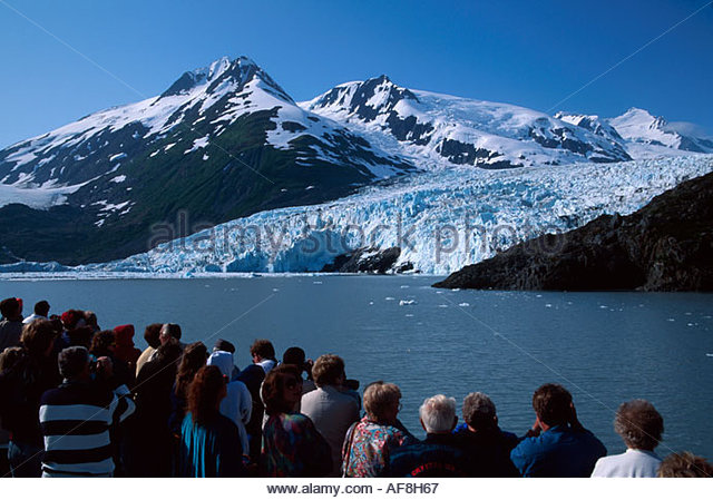 Alaska Portage Bay Ptarmagin passengers Portage Glacier Tour cruises to within yards of glacier - Stock Image