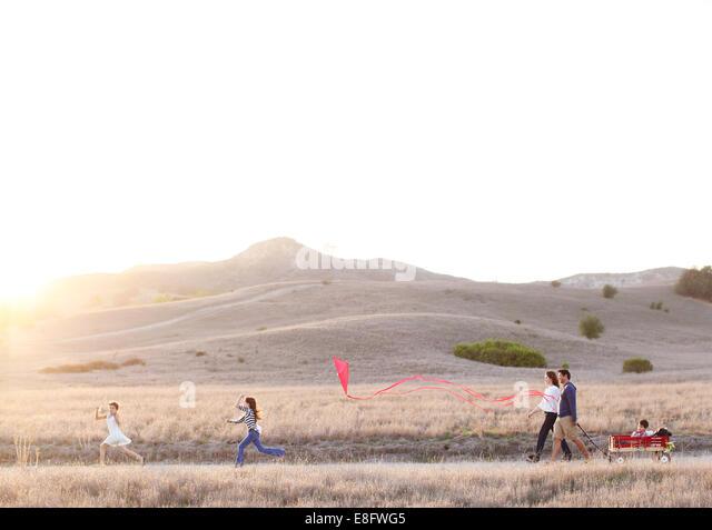 Family out walking - Stock-Bilder