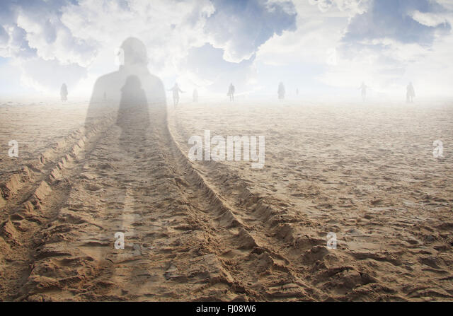 Soul of a man in the land of the shadows. Surreal and ethereal - Stock Image