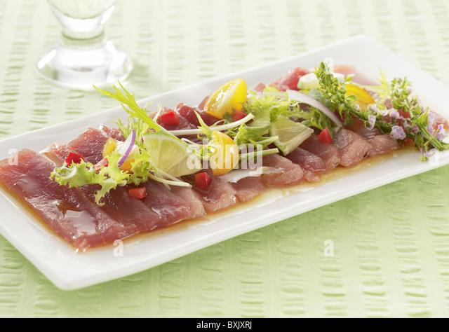 Tuna carpaccio - Stock Image
