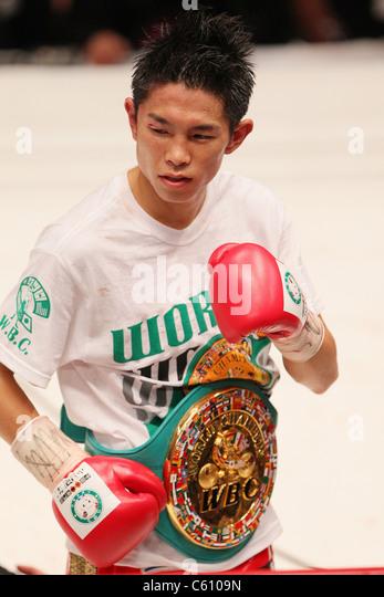 Boxing : Kazuto Ioka of Japan celebrates with his Champion belt during the WBC Minimum weight title bout - Stock Image