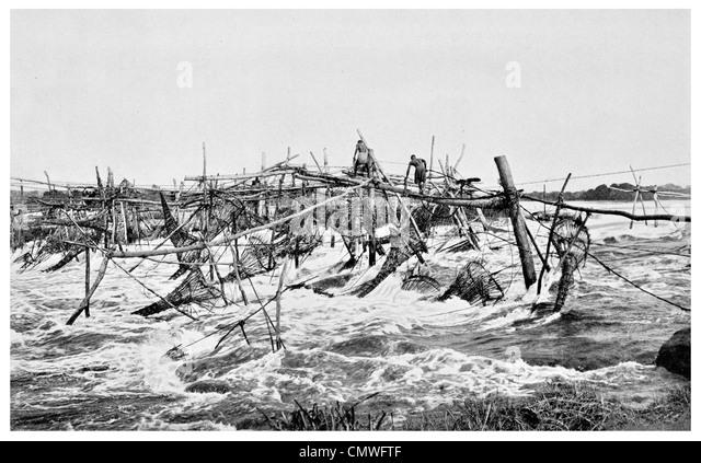 1925 Native fisheries at Stanley Falls near Stanleyville Belgian Congo - Stock-Bilder