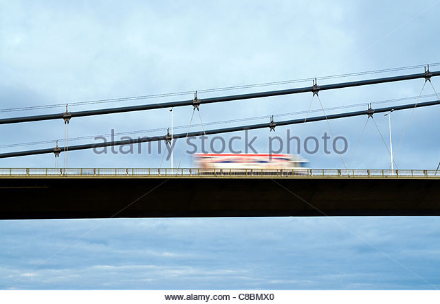 truck on bridge - Stock Image