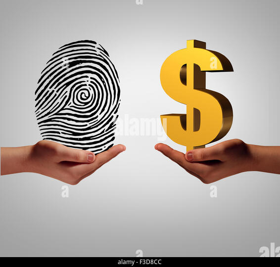 Personal data brokering business concept and buying and selling personal information as a hand holding a finger - Stock-Bilder