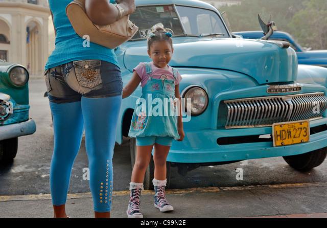 Vintage blue Mercury Havana Cuba - Stock Image