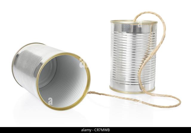 Tin can phone - Stock Image