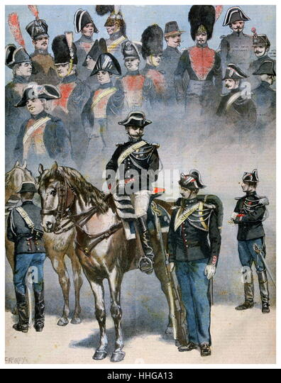 French Police uniforms on manoeuvres in 1896 - Stock Image