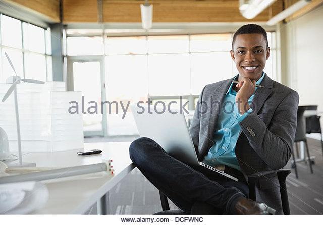 Portrait of sustainable energy engineer - Stock Image