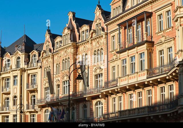 Hotel and spa area at the Tepla, Lazenska cast, Carlsbad, Karlovy Vary, Bohemia, Czech Republic, Europe - Stock-Bilder