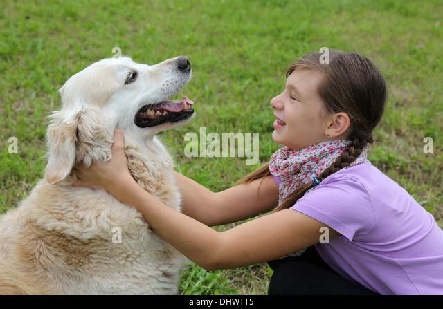 Little Girl Playing Dog Friend Stock Photos & Little Girl ...
