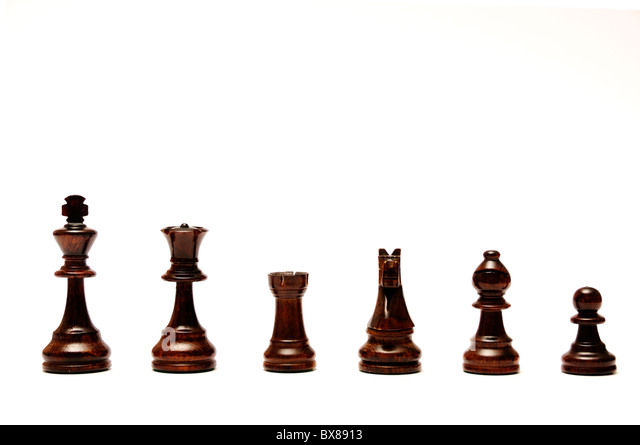chess pieces isolated, black set - Stock Image